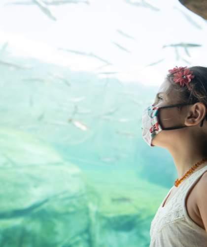 Girl Wearing Face Mask at Columbus Zoo and Aquarium