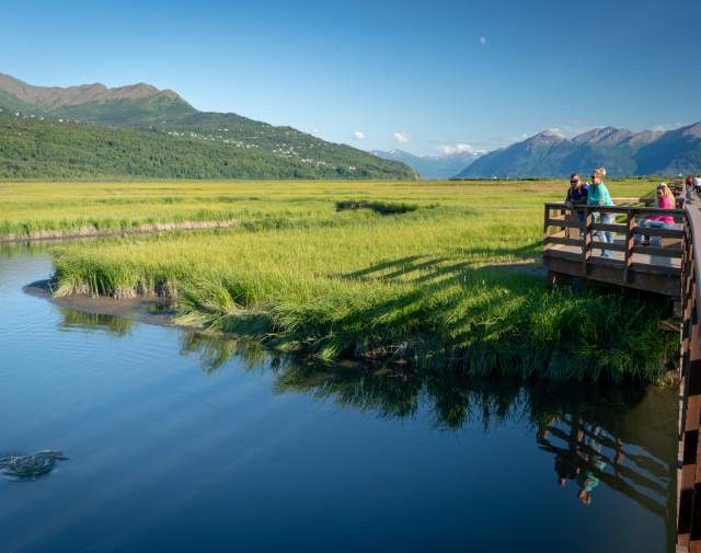 Couple watches for salmon from boardwalk at Potter Marsh