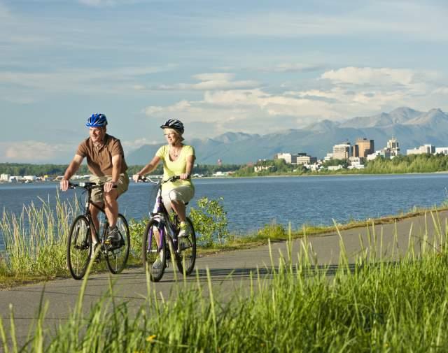 Anchorage biking on the Tony Knowles Coastal Trail