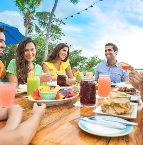 Family and friends dining outdoors