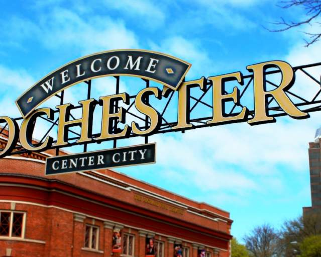 Welcome To Rochester Sign - Center City