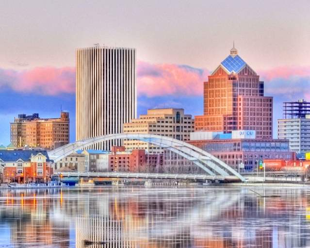 A rendered photo of the Rochester skyline by James Montanus