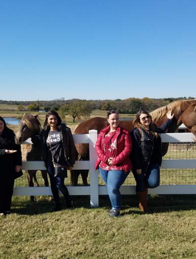 Blogger group with animals at Farm House Fresh