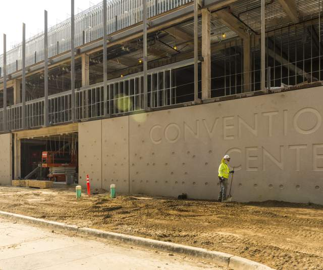 Photo of the SAFE Credit Union Convention Center construction site. Photo taken September 2020.