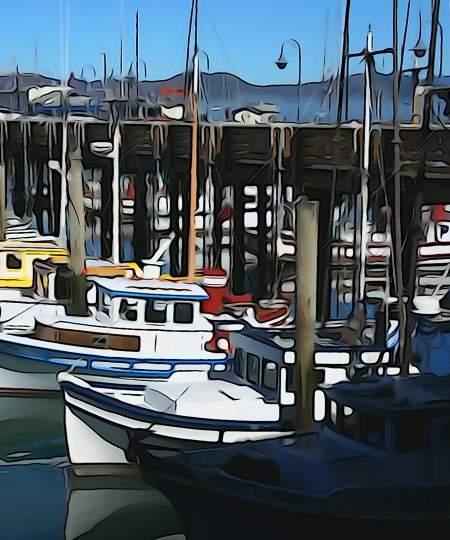 Stylized image of boats