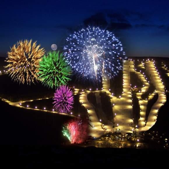 Fireworks at Bristol Mountain Winter Resort at night