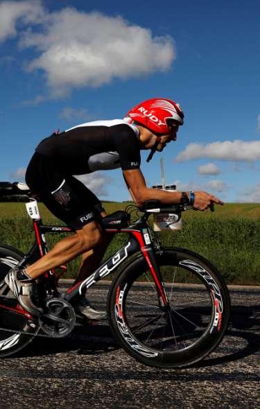 IRONMAN 70.3 athlete biking