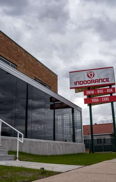 The front entrance of the Indoorance triathlon facility