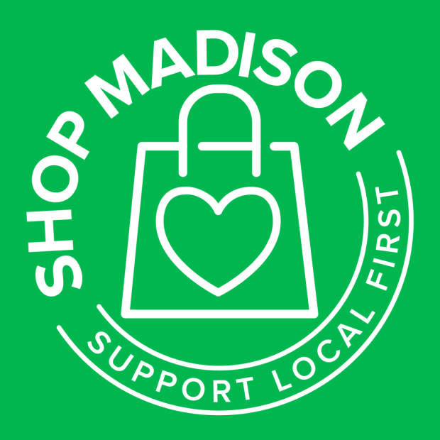 Shop Madison logo on a green background