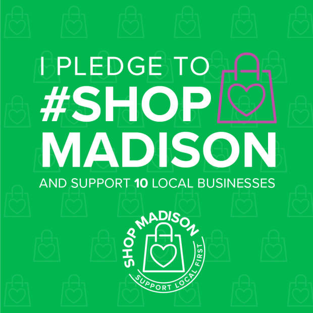 I Pledge to Shop Madison social media graphic