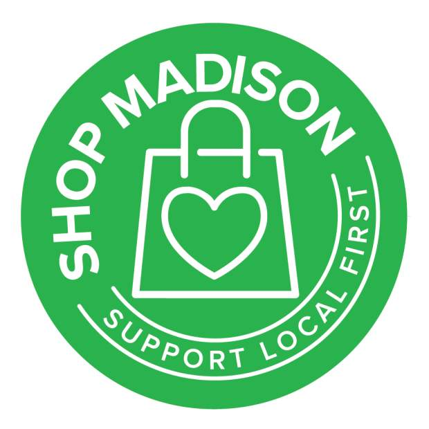 Shop Madison primary logo with green background