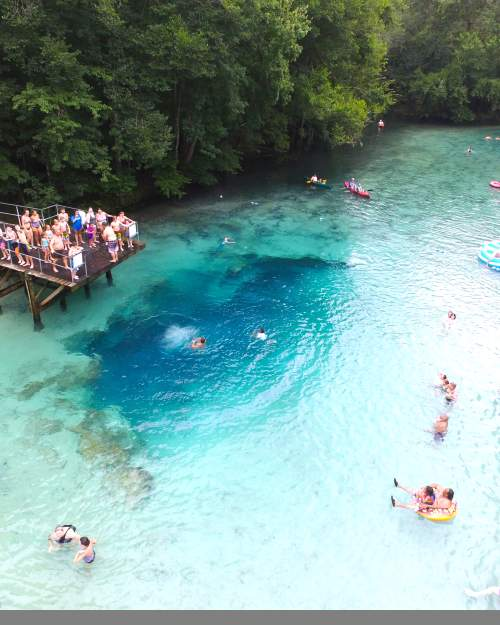 Gilchrist Blue Springs State Park contains a collection of natural springs, including a large second magnitude spring that produces an average of 44 million gallons of water per day. This spring, known as Gilchrist Blue, has outstanding water clarity and discharges water through a shallow spring run about one-quarter mile to the Santa Fe River.  (Source: Florida State Parks)