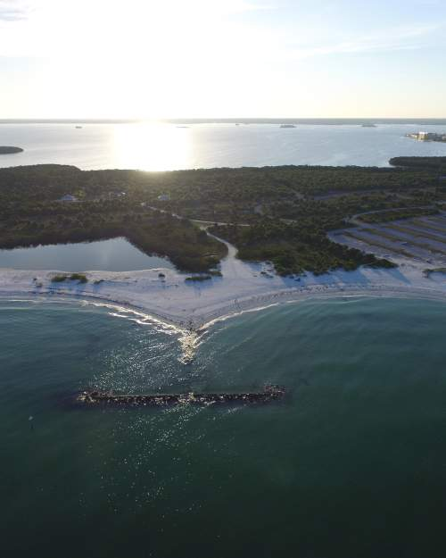 Aerials of Honeymoon Island State Park in Pinellas County on the central Gulf coast.