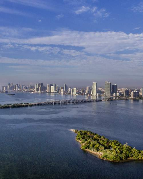 Aerial view of Intracoastal Waterway, Julia Tuttle Causeway, and downtown Miami skyline