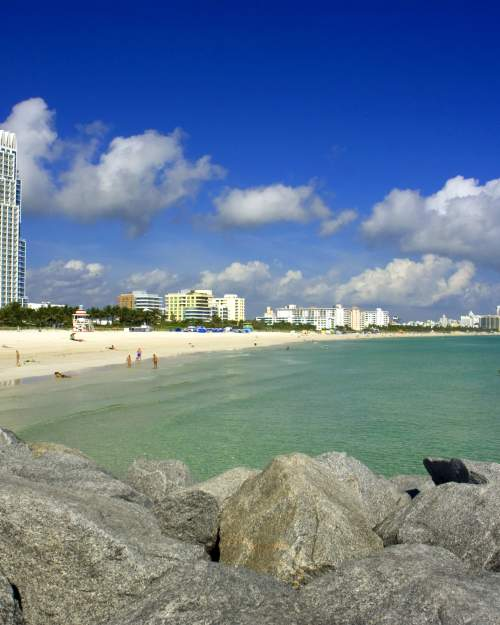 Blue-green surf and shoreline of South Beach in Miami Beach