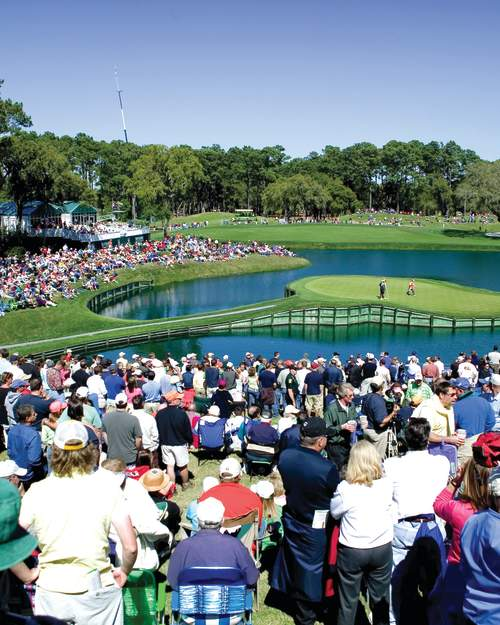 The 17th hole of Sawgrass TPC Stadium Course is one of the most challenging of The PLAYERS Championship held in Ponte Vedra Beach.