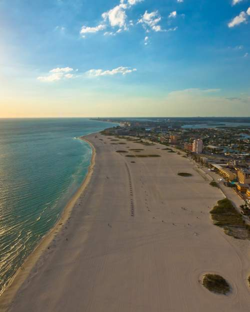 Aerial view of Treasure Island, one of many beautiful Pinellas County beaches on the Gulf of Mexico