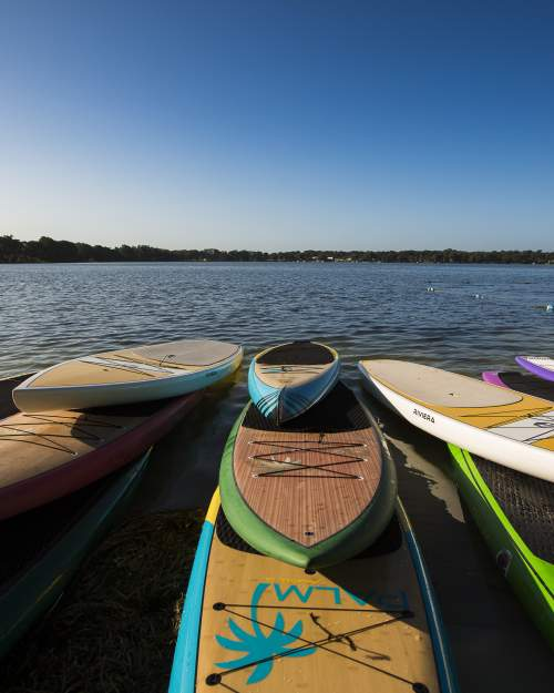 Colorful paddleboards on the shore of Lake Virginia in Winter Park in central Florida