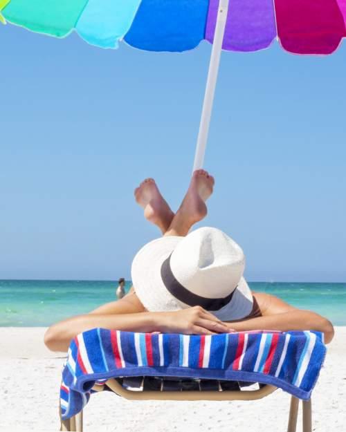 vacation relaxing beach umbrella