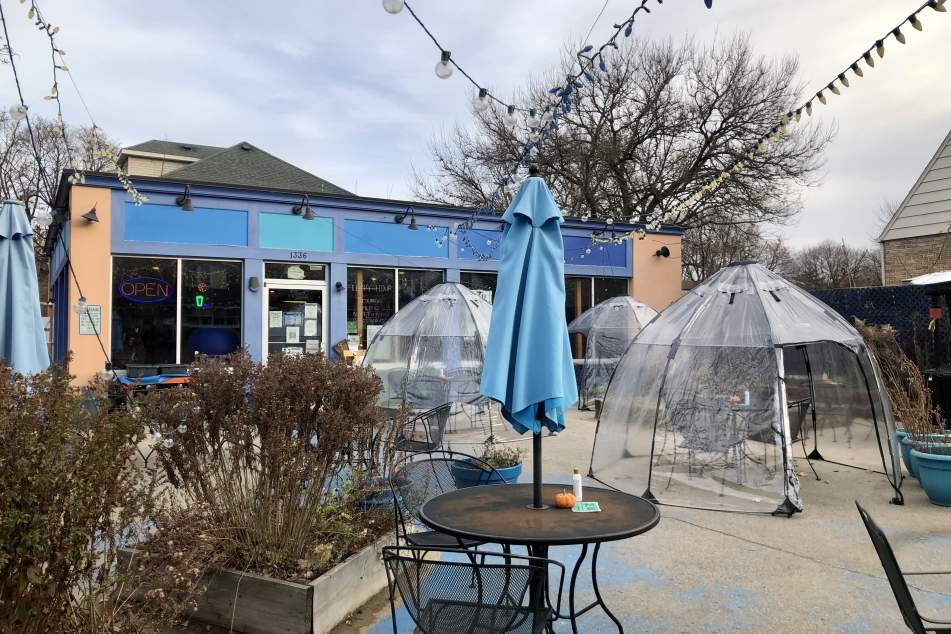 Domes for outdoor winter dining at ZuZu Cafe in Madison