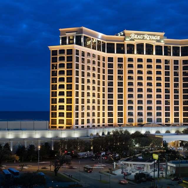 Exterior shot of Beau Rivage Casino in Biloxi, MS at night