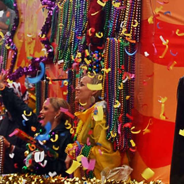 Mardi Gras float confetti