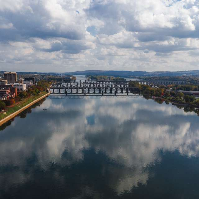 City and bridge on The Susquehanna River in the Cumberland Valley