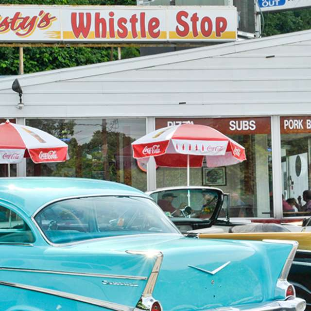 Exterior view Krysty's Whistle Stop diner in Enola, PA