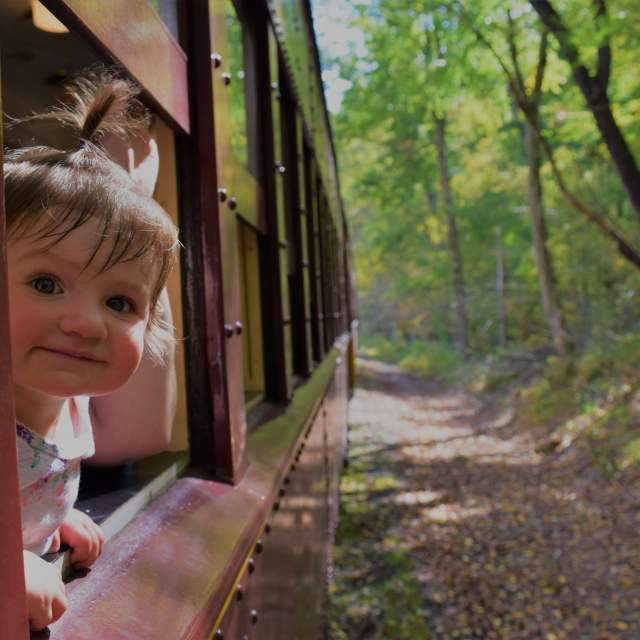 Little Kid Looking Out Of A Train Ride in the Pocono Mountains