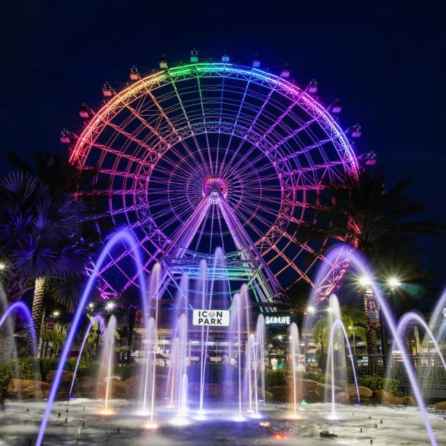 The Wheel at ICON Park at night