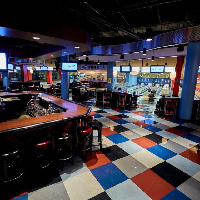 Splitsville Luxury Lanes at Disney Springs™ West Side bar seating