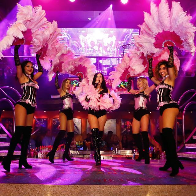 Dancers performing at Mango's Tropical Cafe in Orlando, Florida.