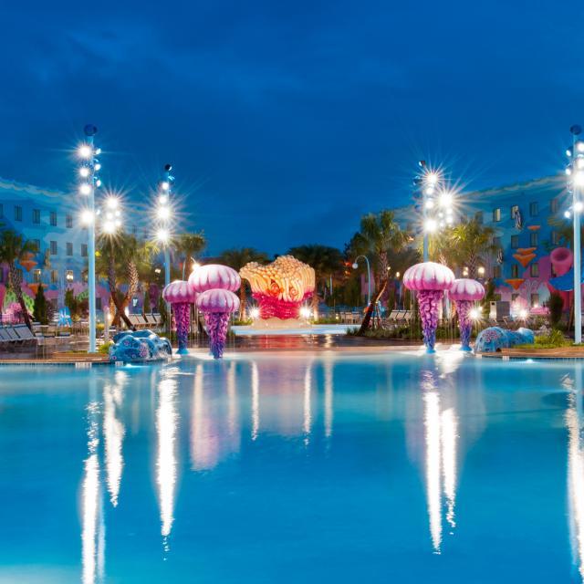 Disney's Art of Animation Resort pool at evening