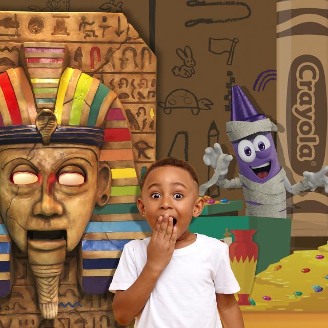 Screamin' Green Hauntoween mummy scene at Crayola Experience Orlando