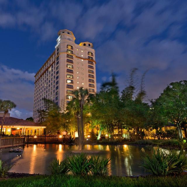 DoubleTree by Hilton Orlando at SeaWorld hotel at night
