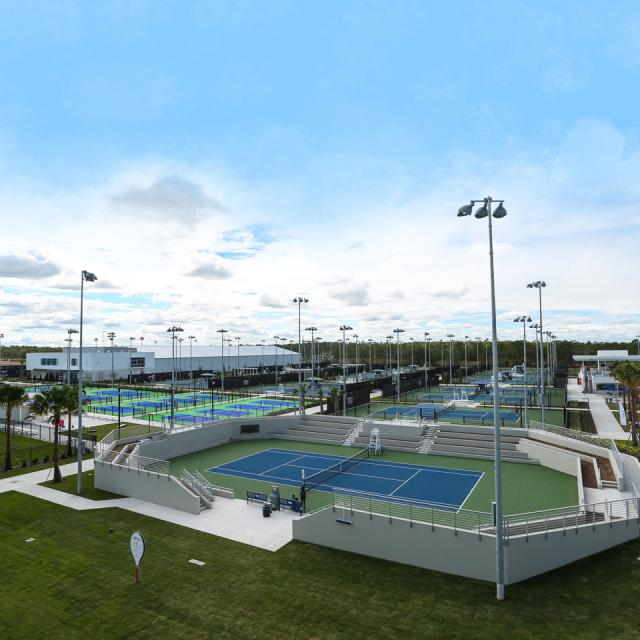 Overview of outdoor courts at USTA National Campus in Orlando