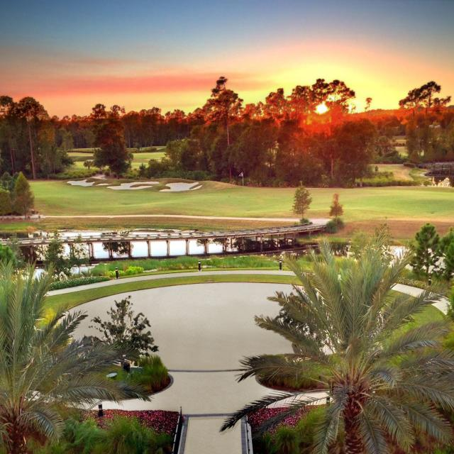 Hilton Orlando Bonnet Creek sunset  at golf course