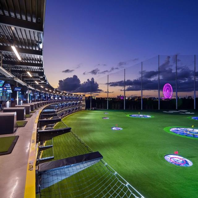 Topgolf golf at night