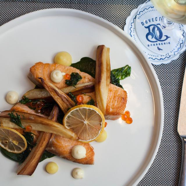 salmon dinner at Dovecote Restaurant