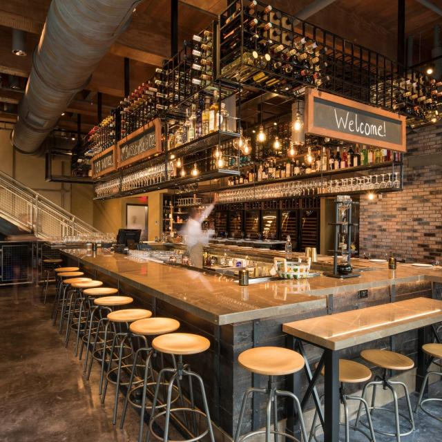 The interior of Wine Bar George