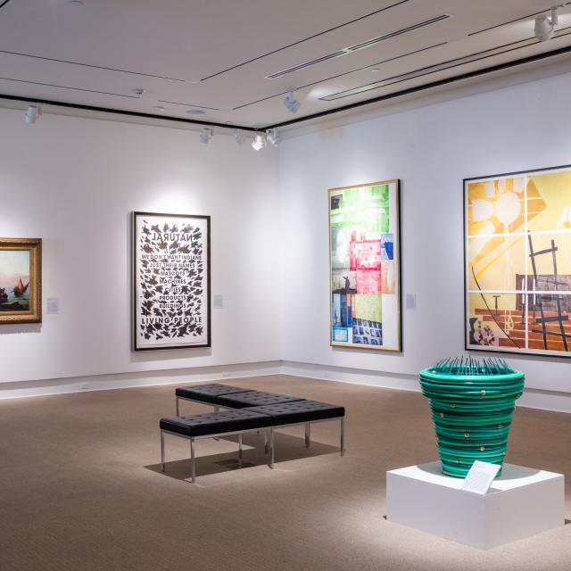 A gallery inside the Rollins Museum of Art