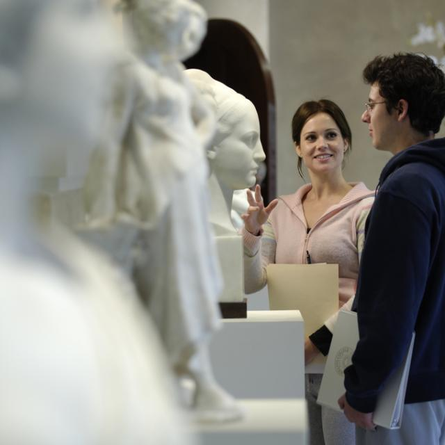 Cornell Fine Arts Museum, visitors viewing sculptures