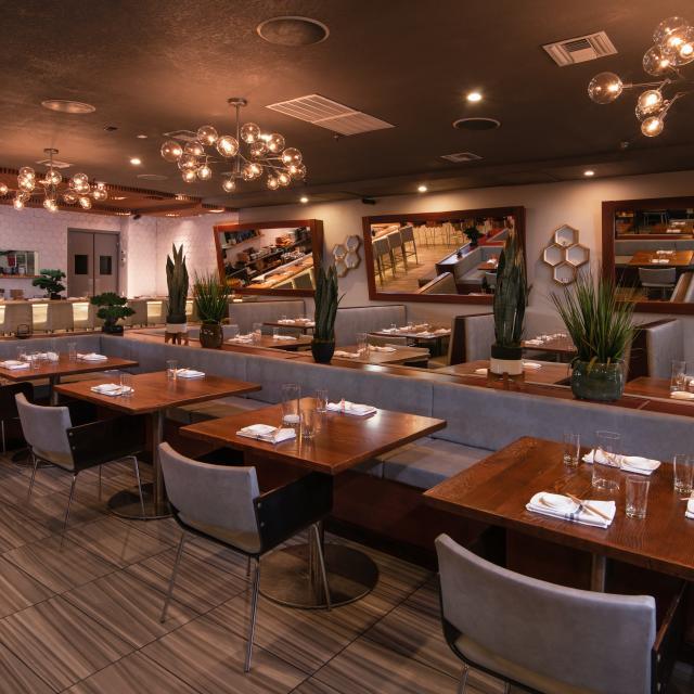 The interior dining room of Kabooki Sushi - Sand Lake
