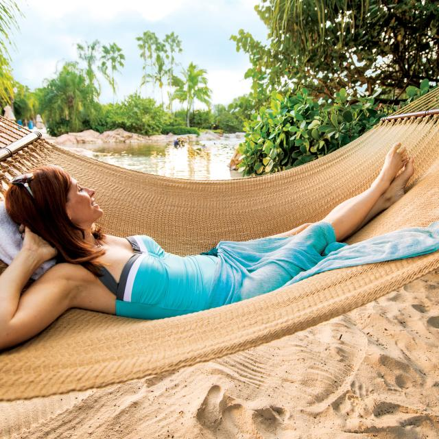 Discovery Cove woman on hammock