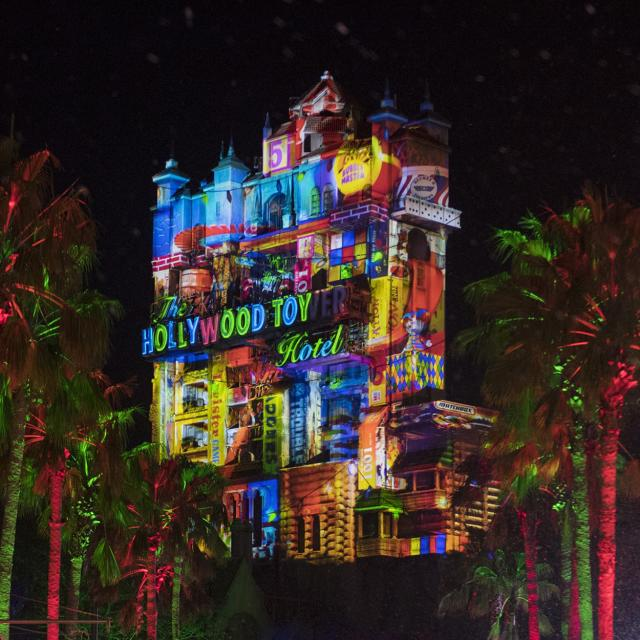 Tower of Terror lit up for the holidays at Disney's Hollywood Studios