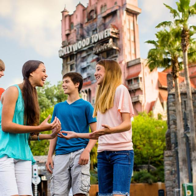 Family in front of the Tower of Terror at Disney's Hollywood Studios