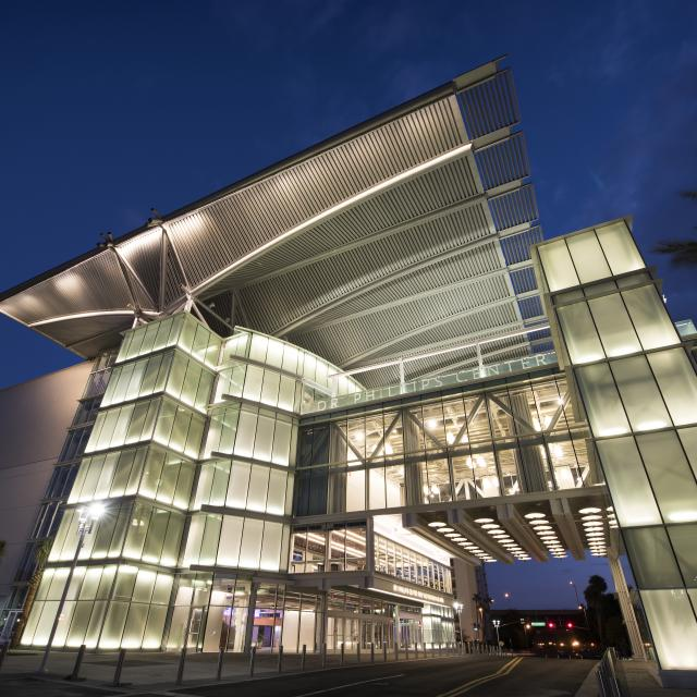 Dr. Phillips Center for the Performing Arts exterior at night