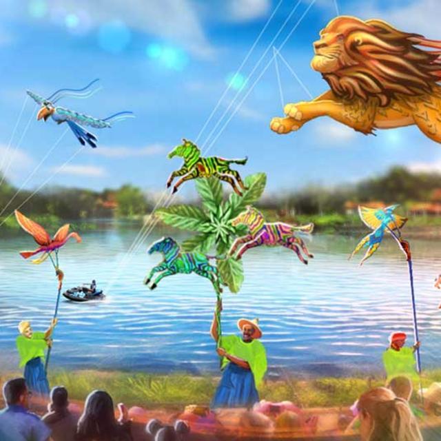 An artist rendering of Kite Tales for 50th anniversary celebration at Walt Disney World Magic Kingdom park