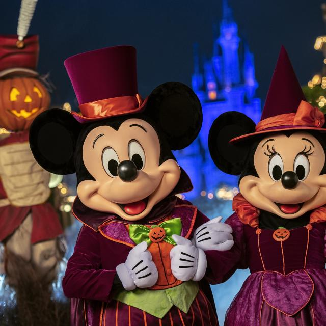Mickey Mouse and Minnie Mouse at Mickey's Not-So-Scary Halloween Party at Walt Disney World