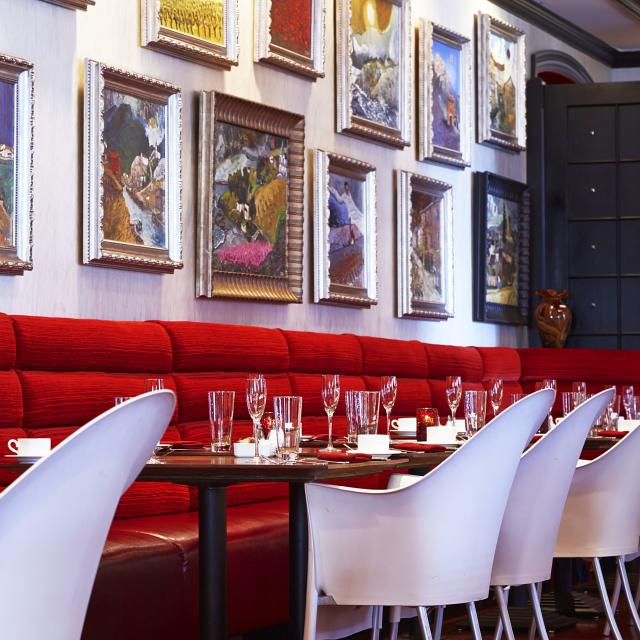 The interior of The Boheme restaurant at the Grand Bohemian Hotel